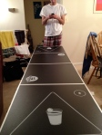 A generous friend gifted us with a professional-style beer pong table, so we set it up first thing on a Saturday morning, because why not?