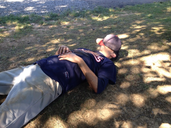 When we play double headers in 100-degree heat, napping between games is essential to survival.